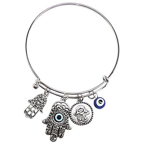 Lucky/Evil Eye, Hamsa Charm Bracelet, in Burnished Silver