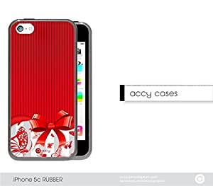 Red Dark Stripes Bow with Butterflies iPhone 5c Rubber Silicone TPU Cell Phone Case