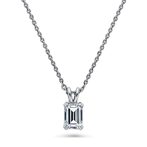 Emerald Cut Solitaire Pendant - BERRICLE Rhodium Plated Sterling Silver Solitaire Anniversary Wedding Pendant Necklace Made with Swarovski Zirconia Emerald Cut 1 CTW