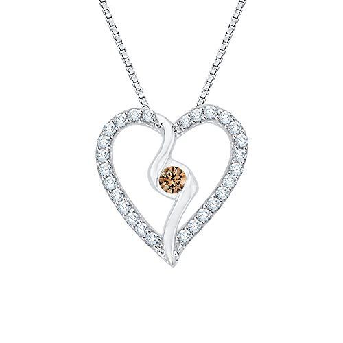 (KATARINA Center Brown and White Diamond Heart Pendant Necklace in 10K White Gold (1/6 cttw G-H, I2-I3))