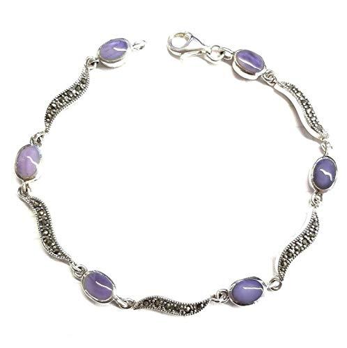 Mother Of Pearl Marcasite Bracelet - Lavender Mother of Pearl Bracelet Marcasite .925 Sterling Silver (7.5-inch L) ВК-26