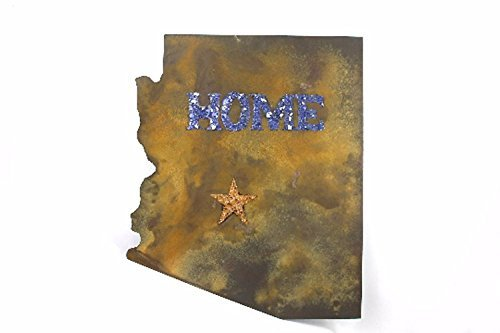 Large State Of Arizona Home Metal Wall Art Recycled Repurposed Blue And Yellow Glass