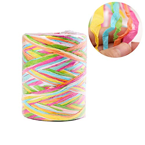 262 Feet Christmas Raffia Paper String, 6 Ply Twisted Gift Wrap Ribbon, 6 Colors Raffia Paper Yarn for Birthday Christmas Craft and Party (Pink)