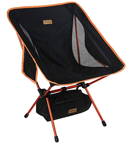 Trekology YIZI GO Portable Camping Chair with Adjustable Height - Compact Ultralight Folding Backpacking Chairs in a Carry Bag, Heavy Duty 300 lb Capacity, for Hiker, Camp, Beach, Outdoor (Certified R