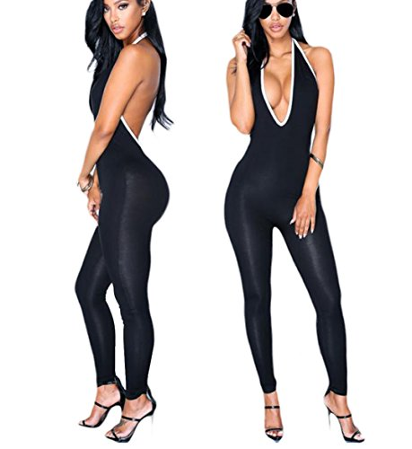 [CRF Women Sexy Backless Sleeveless One Pieces Outfits Sets Bodycon Bandage Long Pants Jumpsuit (Large, style 2] (Sexy Jumpsuits For Women)