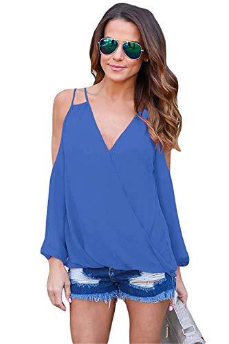 Et lgant Haut Hipster Blau Tops Manches Dentelle Chic Courtes Slim Uni Fit Shirts T Femme Loisir Manche pissure Blouse Mode Costume Confortable Shirts Creux 7w4YWEx
