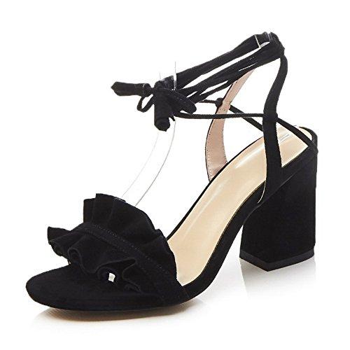 AN Womens Mini-Size Dress Embroidered Urethane Sandals DIU00834 Black EsvSkJ