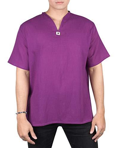Lofbaz Men's V-Neck T-Shirt 100% Cotton Thai Hippie Shirt Yoga Top Purple M (Thai T Shirt)