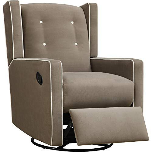 Manual Recliner Chair - Swivel Push Back Reclining Armchair - Polyester Upholstery Living Room Chair (Mocha Microfiber)