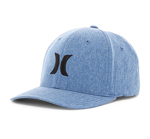 Hurley Men's Iconic Dri Fit Flexfit Baseball Cap Hat (Large/XL, Court Blue) (Hurley Hat Embroidered)