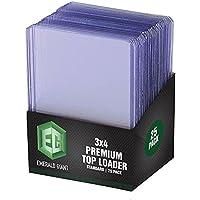 Emerald Giant 25 Hard Plastic Toploaders, Clear Trading Card Protectors, Pokemon Sleeves, Yugioh, Baseball, Basketball…