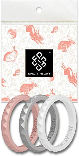 Knot Theory Stackable Silicone Wedding Rings in Rose Gold, Silver, White - Slim Thin Bands for Women - Bliss 3-Pack Size 6 - Expert Color Combo - Ultra Comfortable Elegant Gift for Wife