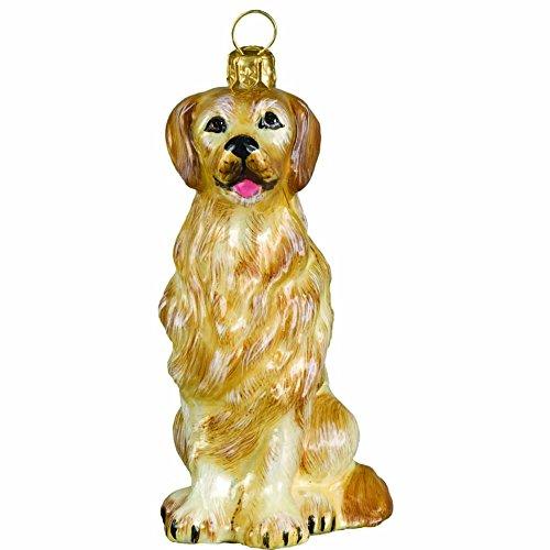 Retriever Glass Ornament - Joy to the World Collectibles European Blown Glass Pet Ornament, Golden Retriever