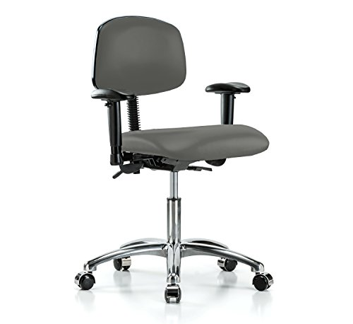 Perch Chrome Multi Task Swivel Chair with Wheels for Carpet or Linoleum, Desk Height, Charcoal Vinyl