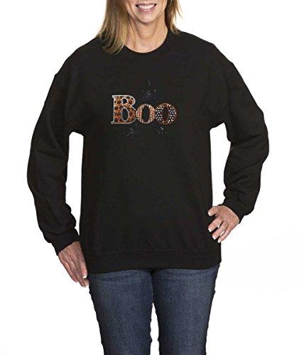 Amy Alder Halloween Boo Sweatshirt Crew Neck Easy Costume Spider, Black, L (Hocus Pocus Costume Shop)