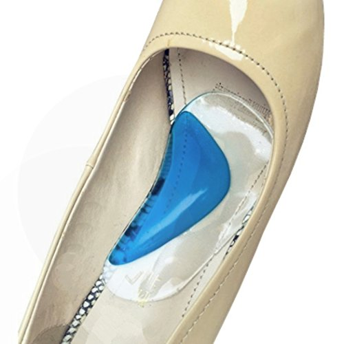 XIMIMEIES Arch Support Insoles for Flat Feet Gel Orthotic High Heel Pads (Support Blue Gel)