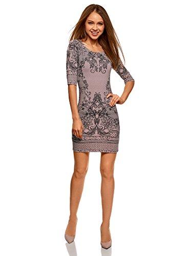 oodji Ultra Women's Bodycon Jersey Dress, Pink, 2 -