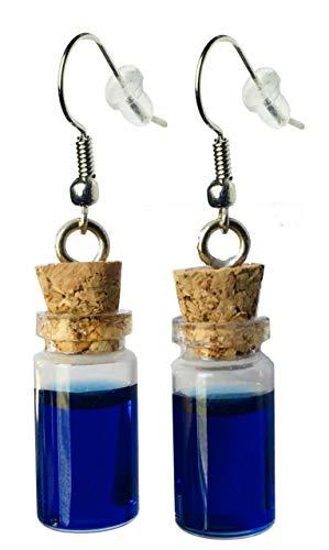 Mini Glass Charm Health, Mana Potion Bottle Earrings – Resin Filling, Hook with Earnuts