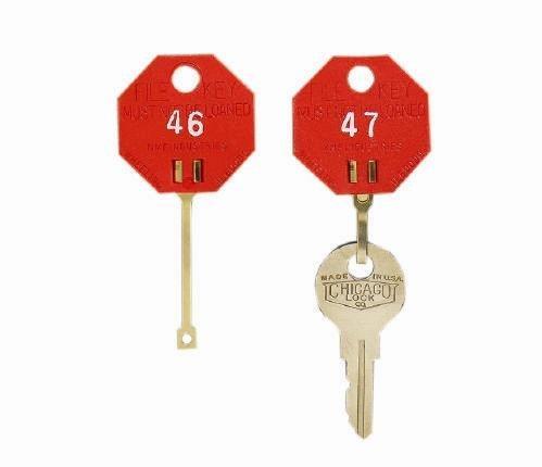 MMF 5312726AA07 Self - Locking - Red Octagonal - Key Tags 1 - 20 - Packed 20 Per (Dupli Key Plastic Tags)