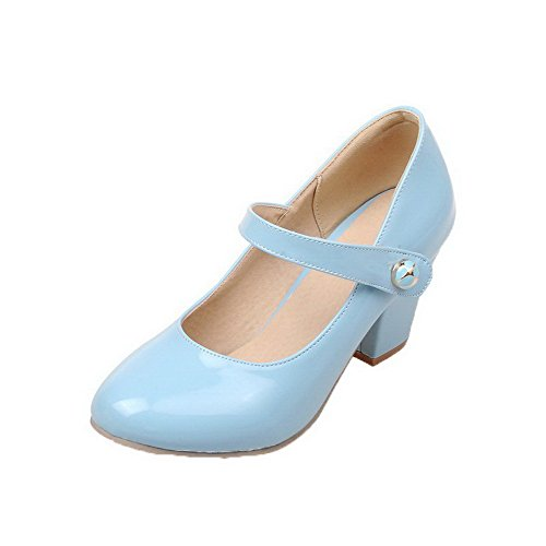 Leather Kitten and Hook Pumps Shoes Blue Patent Heels WeiPoot Solid Loop Women's 6SqFUXX7