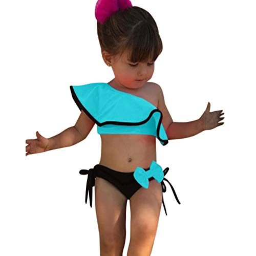 TEVEQ Summer Kids Baby Girls Swimsuit Solid Print Ruffles Bow Swimwear Bikini Outfits Blue