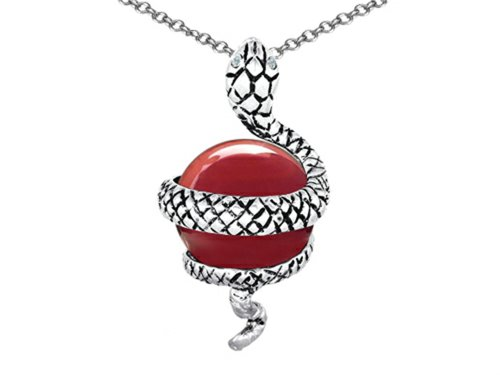 Star K Large Snake Pendant Necklace with 10mm Simulated Red Coral Ball Sterling Silver