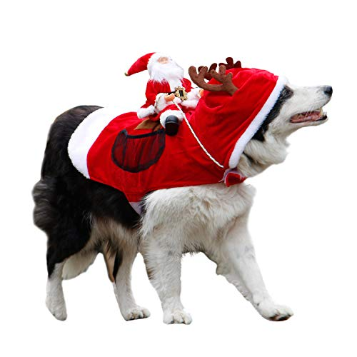 Royal Wise Running Santa Christmas Pet Costumes,Santa Dog Costume Dog Apparel Party Dressing up Clothing for Small Large Dogs Cats Clothes Pet -