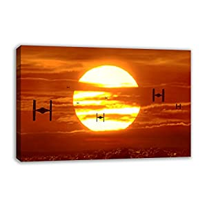 """TIE FIGHTERS SUNSET STAR WARS VII THE FORCE AWAKENS CANVAS WALL ART (44"""" X 26"""")"""
