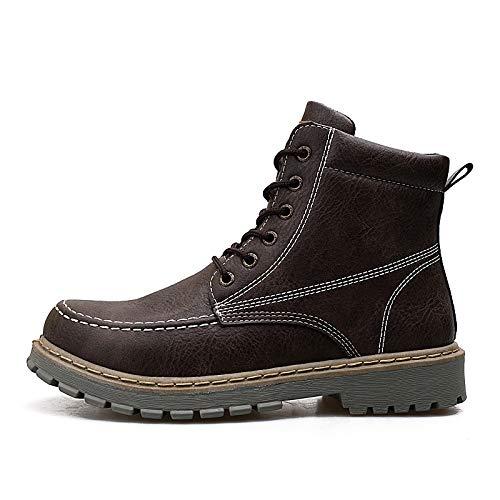Shukun Herren Stiefel Winter Herren Lederstiefel Outdoor Warm Retro High Hilfe Martin Stiefel Herrenbekleidung Plus Cotton Snow Stiefel