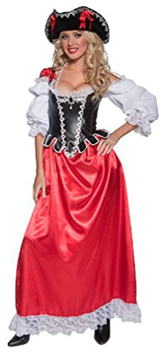 Smiffys Pirate Wench Costume (Smiffy's Women's Pirate Wench Costume, White/Red/Black, Large)