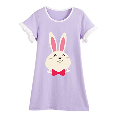 Toddler Girls' Bunny Nightgowns Rabbit Sleep Shirts Lace Personalized Loungewear Purple 7 ()