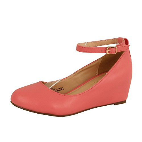 Retro Comfort Low Heel Platform - Ankle Strap Round Closed Toe - Mary Jane Pumps-Shoes Pumps-Shoes, Coral PU, 6.5 (B) M US (Coral Dress Shoes)