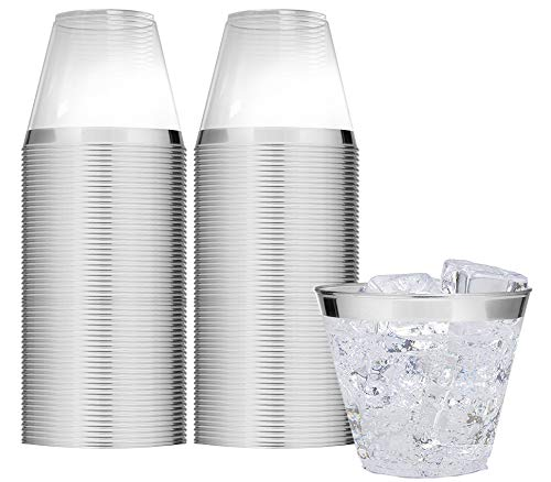 - Elegant Silver Rimmed 9 Oz Clear Plastic Tumblers Fancy Disposable Cups with Silver Rim Prefect for Holiday Party Wedding and Everyday Occasions 100 Pack - Stock Your Home