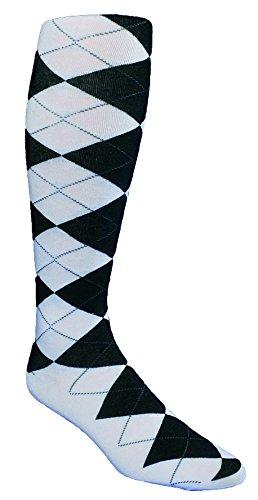 The Highlands Argyle Men's Golf Sock Collection - White/Black/Grey Overstitch (Mens Argyle Golf Socks)
