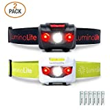 2-Pack USA CREE Led Headlamps Flashlights, 160 Lumens, Red LED Night Vision, Features 2 Separate Control Switches, Nice Fit Strap, 2.6 oz Lightweight for Running, Camping & Hiking (1 Black & 1 White)