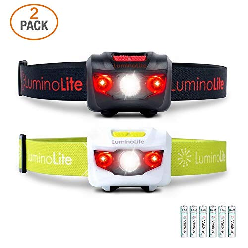 Night Vision Headlamp - 2-Pack USA CREE Led Headlamps Flashlights, 160 Lumens, Red LED Night Vision, Features 2 Separate Control Switches, Nice Fit Strap, 2.6 oz Lightweight for Running, Camping & Hiking (1 Black & 1 White)