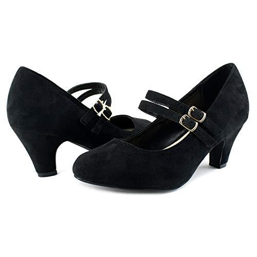 Women's Wide Fit Mary Jane Chunky Heel Dress Pumps (True Wide Width) (True Wide Width) Black (11)