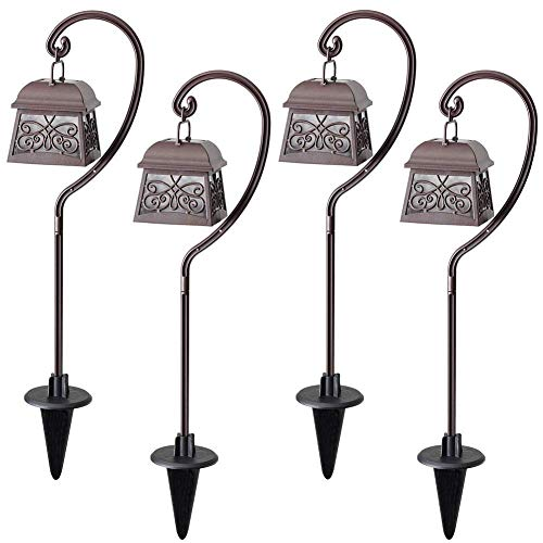 (Maggift 22 Inch Hanging Solar Lights Multipurpose Shepherd Hook Lights with 4 Shepherd Hooks Outdoor Solar Coach Lights (4 Pack))