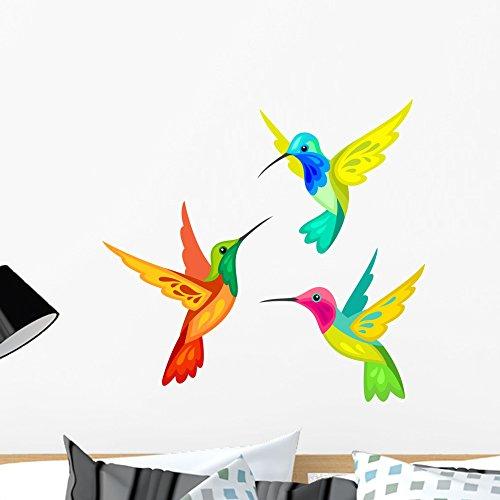 Wallmonkeys Stylized Hummingbirds Wall Decal Sticker Set Individual Peel and Stick Graphics on a (24 in W x 23 in H) Sticker Sheet WM369010