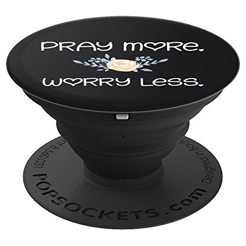 Pray More. Worry Less. Cute Girly Boho Flowers Prayer to God - PopSockets Grip and Stand for Phones and Tablets ()