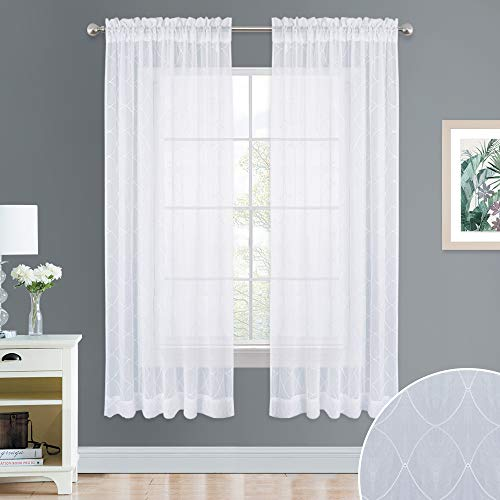 NICETOWN Geometric Shape Embroidered Sheer - Voile Curtains 63 Inch Long, Diamond Embroidery Crushed Rod Pocket Design Drapes for Bedroom, Dorm, Office, 52