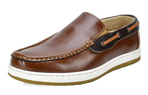 BRUNO MARC NEW YORK Men's Pitts_10 TAN/Brown Penny Loafers Moccasins Boat Shoes Size 10.5