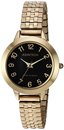 Armitron Women's 75/5562BKGP Easy to Read Dial Gold-Tone Expansion Band Watch