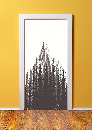 Primitive 3D Door Sticker Wall Decals Mural Wallpaper,Mountain with Fir Forest and Native American Arrow Figure Folk Style Retro Print,DIY Art Home Decor Poster Decoration 30.3x78.14560,Dimgrey