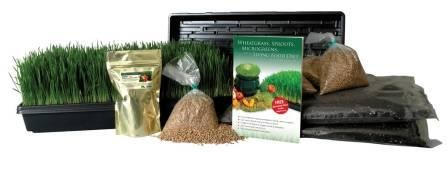 Certified Organic Wheatgrass Growing Kit - Grow & Juice Wheat Grass: Trays, Seed, Soil, Instructions, Wheatgrass Book, Trace Mineral Fertilizer & More by Living Whole Foods
