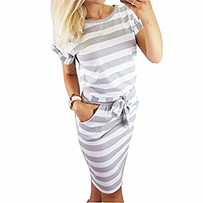 PALINDA Women's Striped Elegant Short Sleeve Wear to Work Casual Pencil Dress with Belt