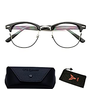 (#RF9053 Blk) Clubmaster Style Readers Retro Half Plastic Metal Hipster Wire Reading Glasses Black