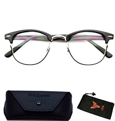 (#RF9053 Blk) Clubmaster Style Readers Retro Half Plastic Metal Hipster Wire Reading Glasses - Hipster Glasses Style