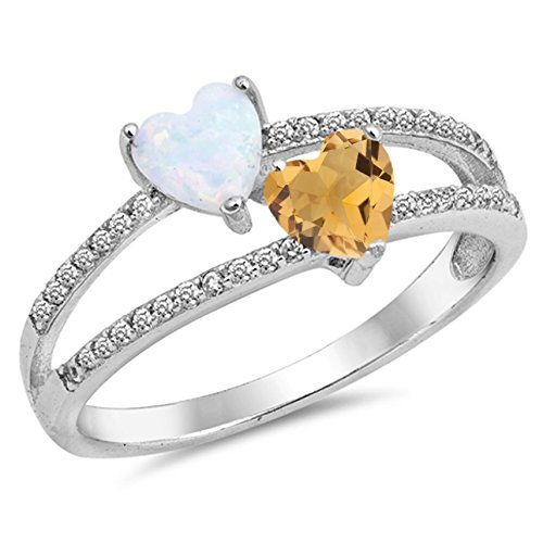 - 925 Sterling Silver Faceted Natural Genuine Yellow Citrine Heart Ring Size 7