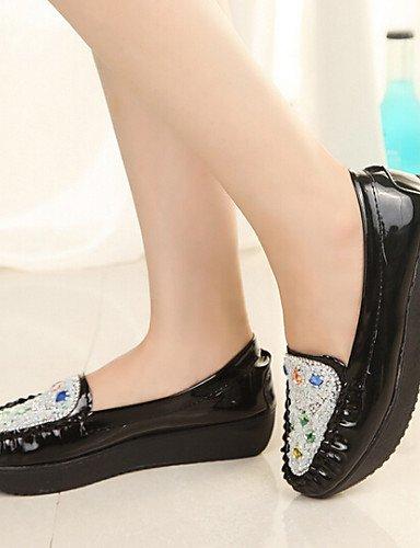 ZQ Zapatos de mujer - Plataforma - Plataforma - Mocasines - Casual - Semicuero - Negro / Azul / Rosa / Blanco , pink-us8 / eu39 / uk6 / cn39 , pink-us8 / eu39 / uk6 / cn39 pink-us7.5 / eu38 / uk5.5 / cn38